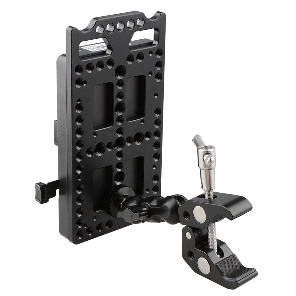Divisor de alimentación de placa de montaje CAMVATE V Lock con Super abrazadera pinzas de cangrejo Clip montaje de cabeza de bola C1584