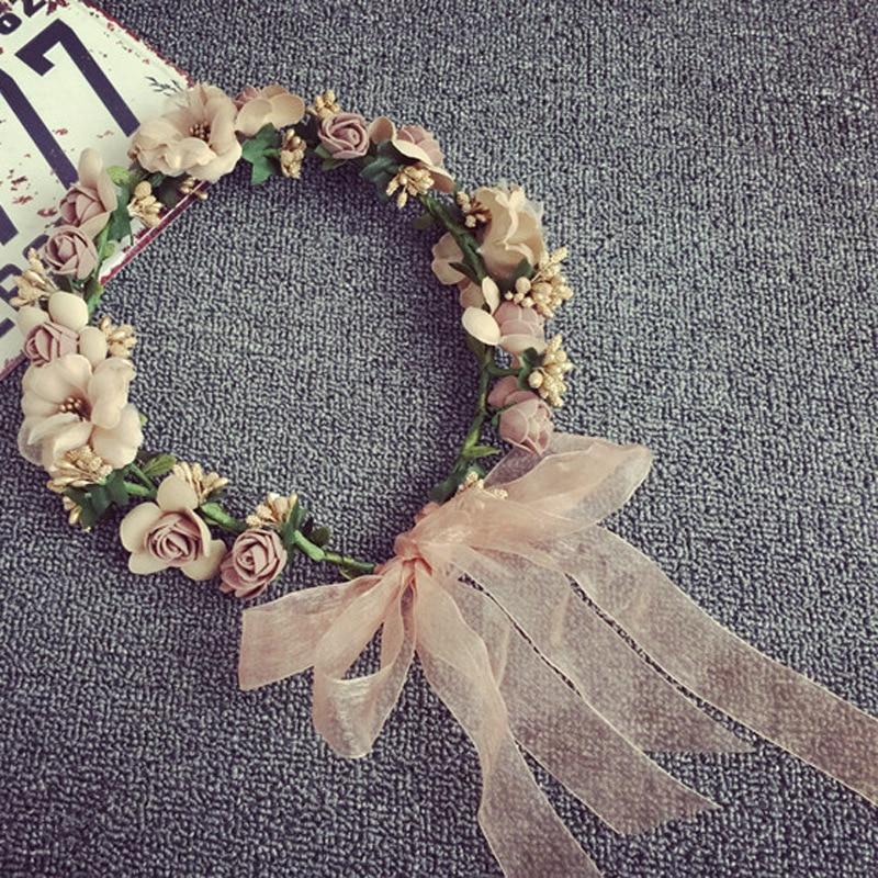 flower crown hairpins girl seaside resort headdress flower bride bridesmaid accessories wedding hair jewelry H002