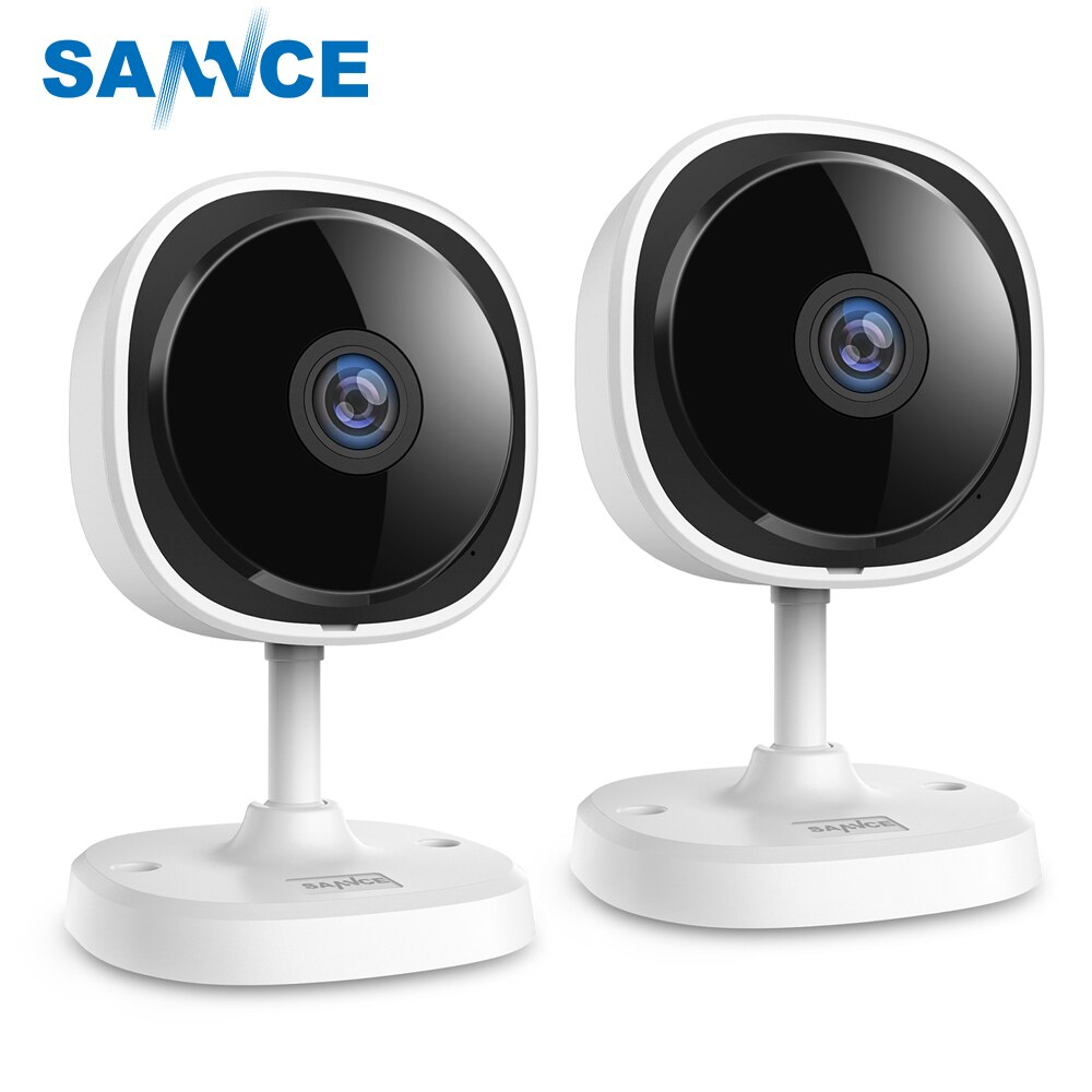 SANNCE 2 piezas HD 1080P ojo de pez IP cámara de seguridad del hogar Camara inalámbrica Wifi Mini Camara visión nocturna IR Cut Wi-Fi Monitor de bebé