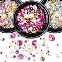 Mix kształty Glitter Jewel perły złoty metal Bar koraliki matowe w kształcie serca Nail Art dżetów Gems kalkomanie Manicure DIY porady