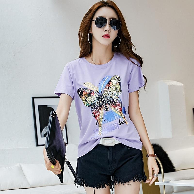 2018 nuevo estilo de cuello redondo Camiseta de algodón púrpura de moda de verano de las mujeres de la camiseta de la señora de la impresión suelta del estiramiento femenino chemise