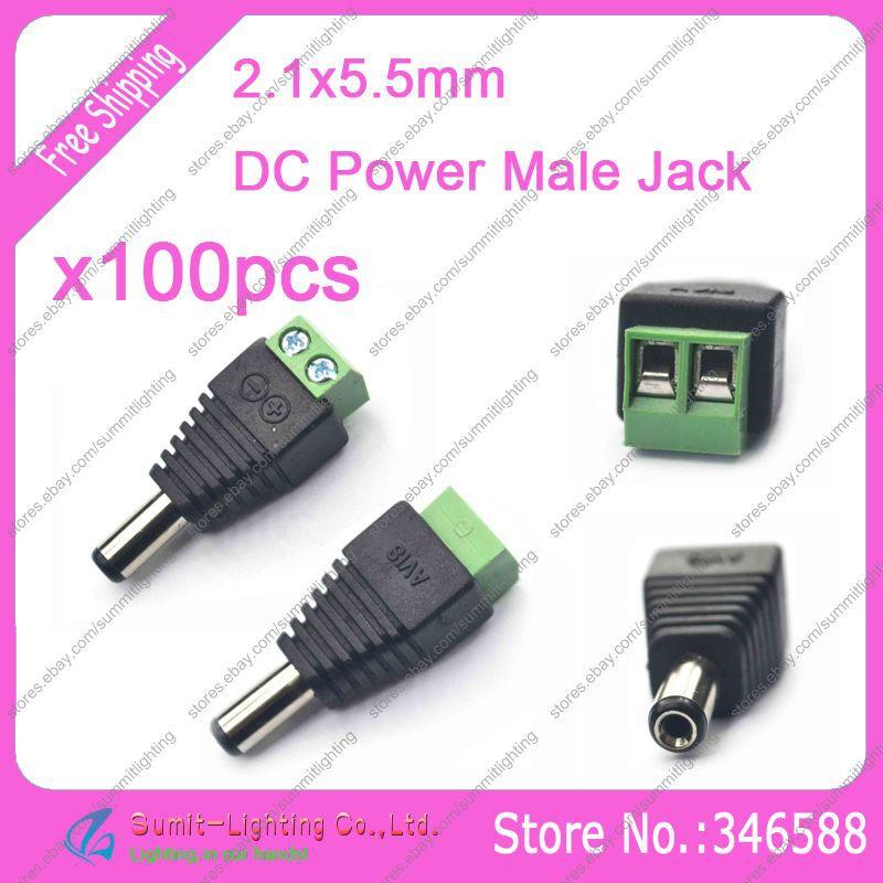100 قطعة 5.5 × 2.1 مللي متر تيار مستمر الطاقة ذكر التوصيل كابل موصل سهل إلى تيار مستمر محول الطاقة لشريط إضاءة LED لون واحد/CCTV