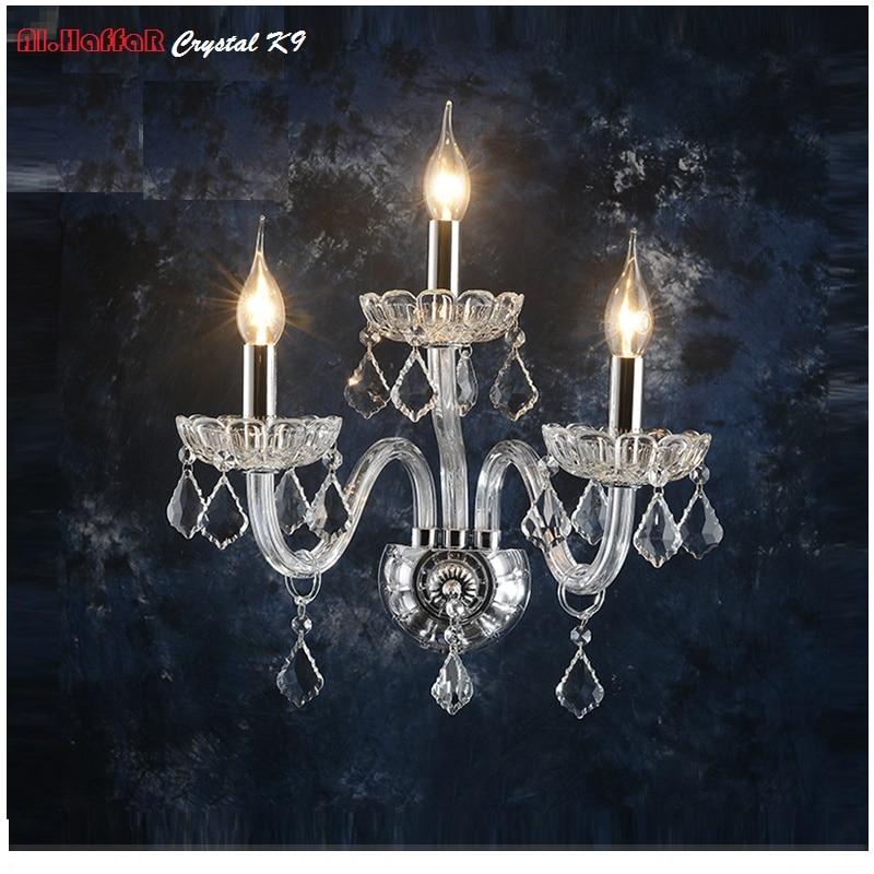 Aplique de pared de lujo, lámpara de pared de estilo europeo, lámpara de noche, lámpara de cristal, aplique de pared, dormitorio, escaleras, sala de estar