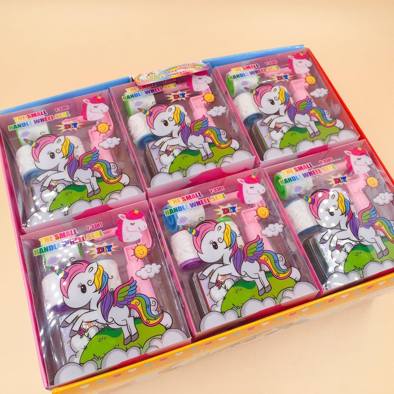 Creativos dibujos animados unicornio rollo de sellos DIY sellos y Inkpad sello diario colección scrapbook papelería suministros.