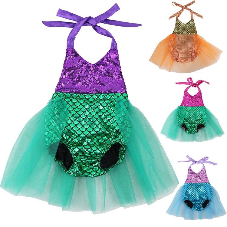 Bebê meninas lantejoulas tutu verão sereia macacão de bebê um-pieces multi cor da criança roupas de bebê menina macacão