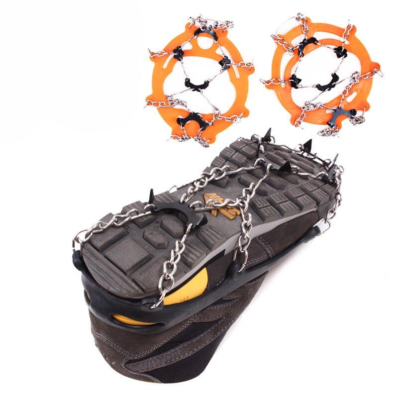Pinzas antideslizantes de 8 dientes, crampones de hielo de acero al manganeso y acero inoxidable, pinza de esquí, tacos de nieve, senderismo, escalada, zapatos, cubierta de cadena