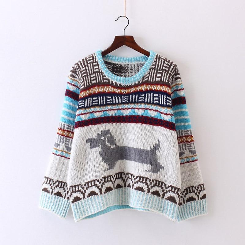 2018 mujeres suéteres y pulóveres dinero Madam Bf Lazy Wind Puppy red suéter mujer Pullover estudiante Easy Long Sleeve M2538