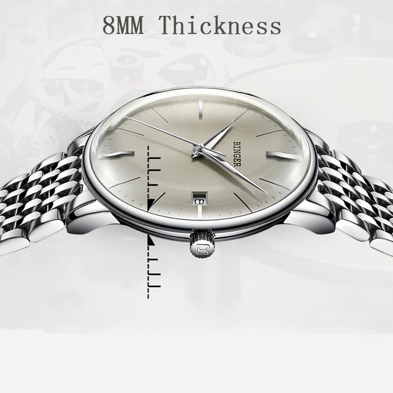 Suíça binger marca superior convexo safira vidro moda negócios relógio mecânico automático pulseira de aço masculino relógio de luxo