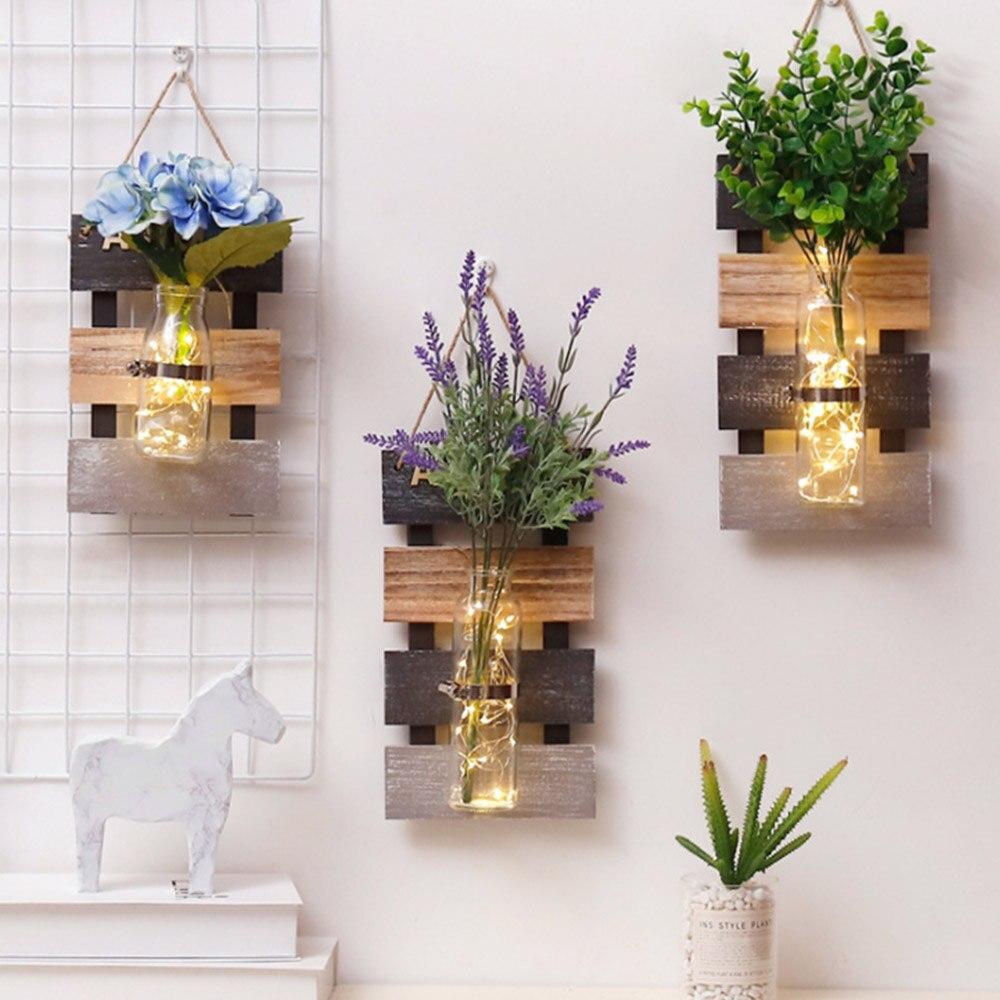 44*17,3 см гидропонная стеклянная ваза для растений, пасторальная настенная деревянная Цветочная ваза для украшения дома