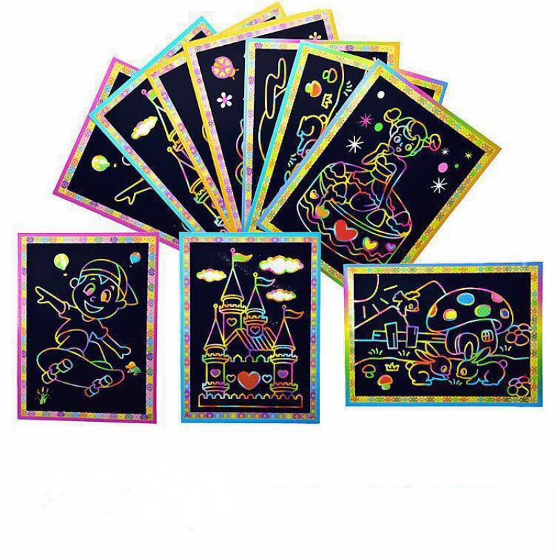 Novedad dibujo libro Diy rayado Graffiti nota mágica dibujo libros de cartón negro para niños juguete escolar suministros