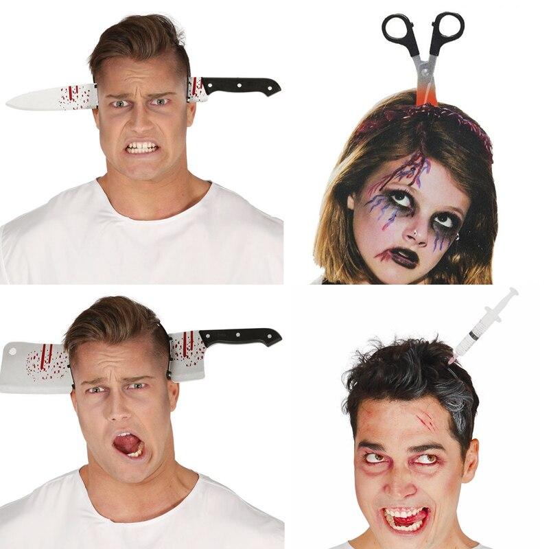2020 accesorios de decoración Halloween accesorios terror Halloween diadema cuchillo sangre falsa realizar accesorios Halloween fiesta suministros