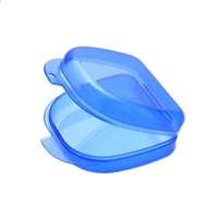 blue utility orthodontic dental retainer storage boxes case plastic denture tray box teeth container denture bins beautyhealth