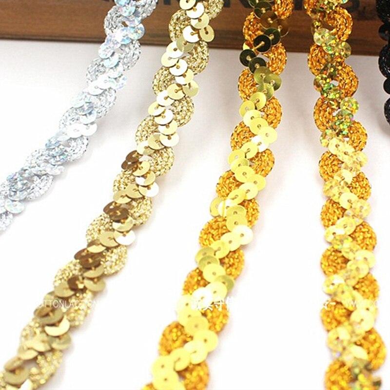 Cintas de encaje de lentejuelas de 13 yardas, apliques para disfraces de Cosplay, adornos bordados de banda trenzada, accesorios de ropa de encaje de 1,5 CM de ancho