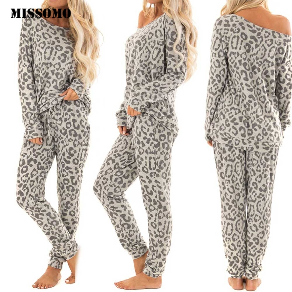 MISSOMO, chándal de 2 uds para mujer, pantalones con estampado de leopardo, conjuntos de tops y blusas para mujer, ropa de descanso, ropa de cama, traje de algodón a la moda 2019
