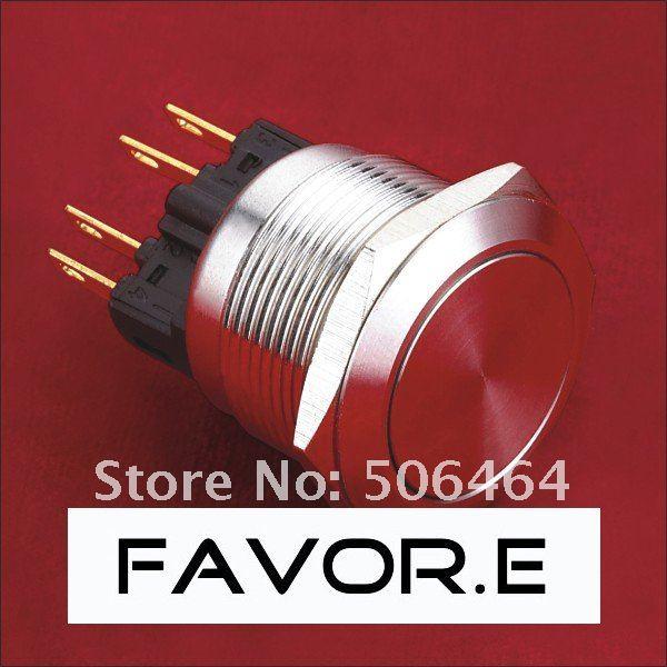 * الفولاذ المقاوم للصدأ 22 مللي متر IP65 5A/250VAC 1NO 1NC الإغلاق مفتاح بـزر دفع معدني دبوس محطة