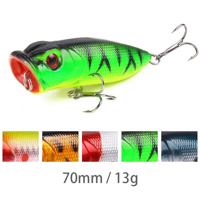 7 cm/13g señuelo de pesca 5 colores Popper wobbler plástico cebo 3D ojos isca artificial cebo para peces accesorios de pesca al aire libre