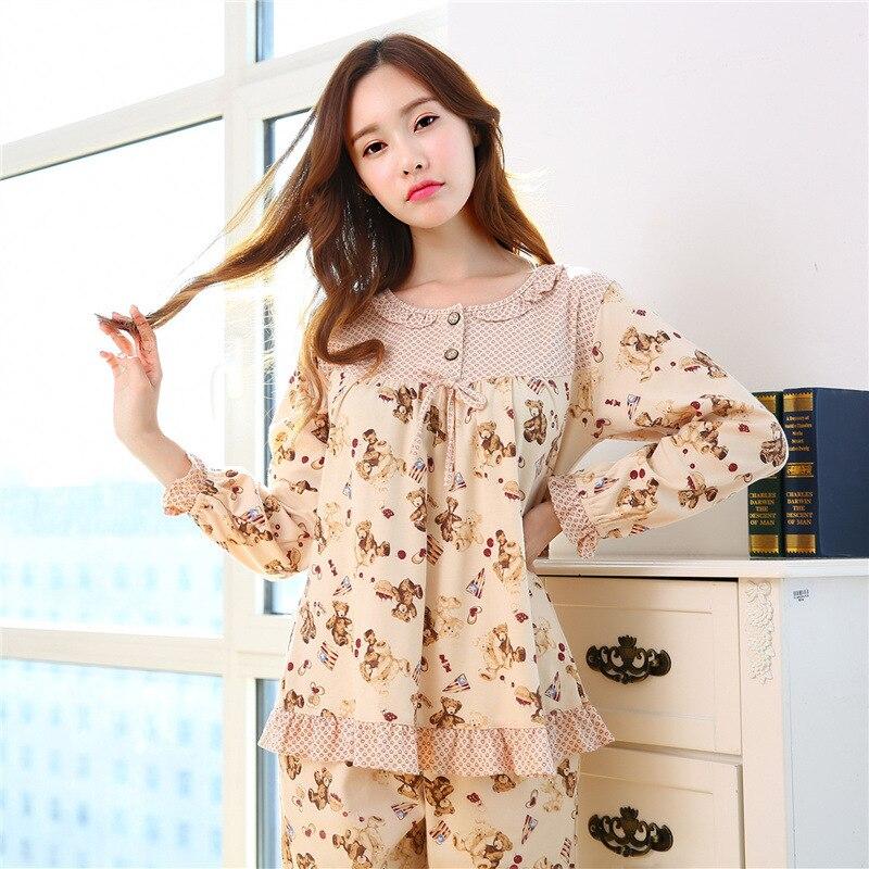 2018 Spring Autumn Pyjamas Women Cotton Pijama Feminino Long Sleeved Sleepwear Women plus size Nightwear M~XXL