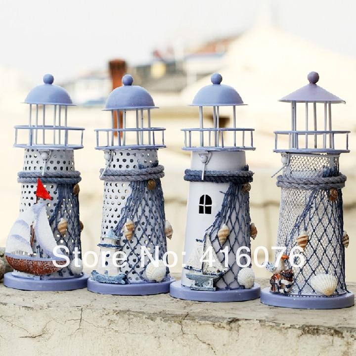 Freies Verschiffen! Mittelmeer Ozean Stil Metall Leuchtturm Kerzenhalter Laterne 4 designs verfügbar M größe Hause DecorationC1031