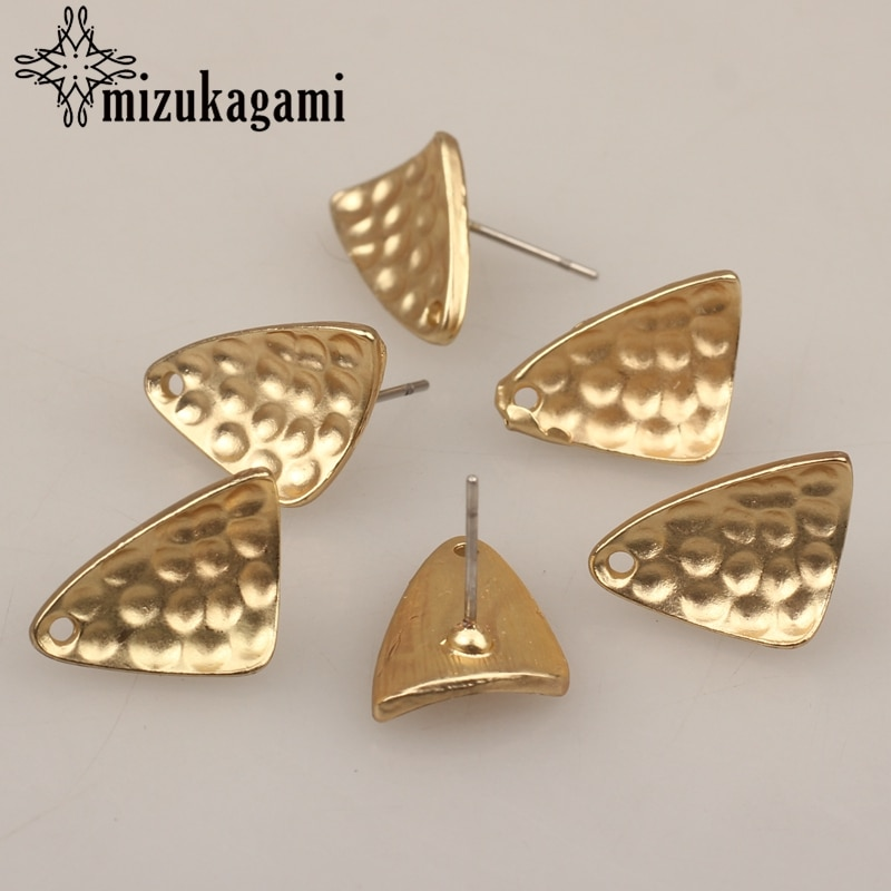 6 unids/lote, aleación de Zinc, oro, pendientes geométricos distorsionados triangulares, conectores para pendientes DIY, fabricación de joyas, accesorios