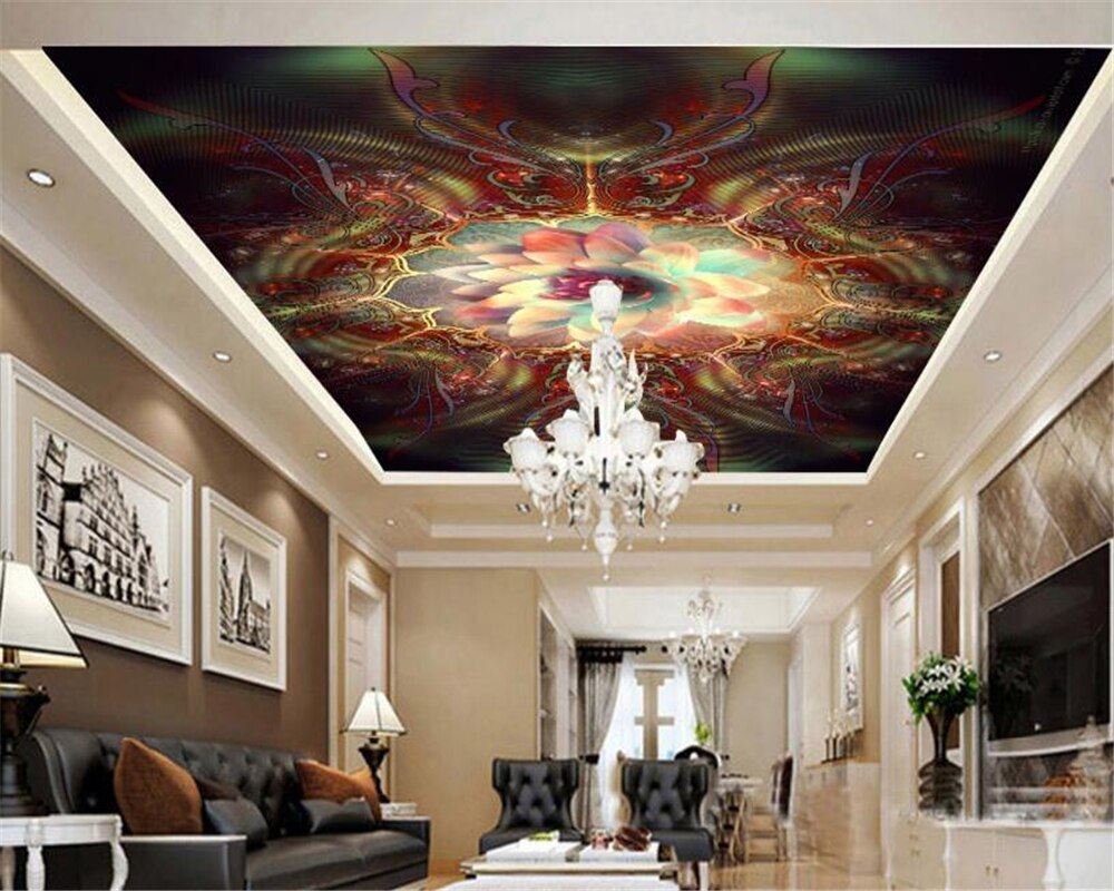 beibehang Classic fashion personality wallpaper dream Abstract lotus luxurious ceiling painting mural wallpaper for walls 3 d beibehang formaldehyde free classic wall paper embossed lotus vintage watercolor lotus leaf porch decorative painting wallpaper