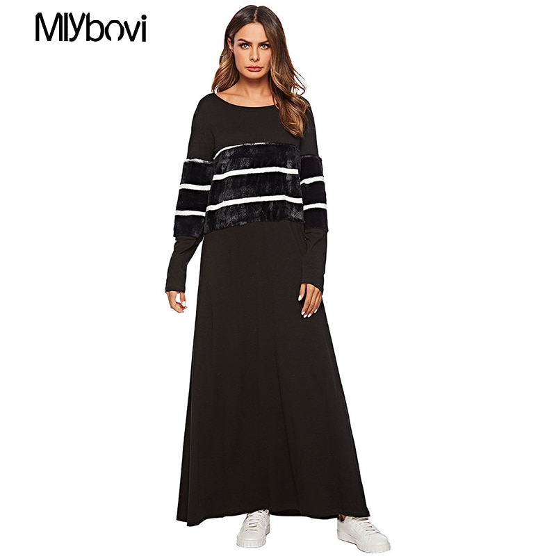 Mulheres negras Patchwork Vestido Islâmico Muçulmano Malásia Femme Vestido de Malha Roupas Kaftan Dubai Abayas Para As Mulheres Robe Musulmane