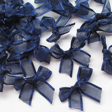 Nœuds à fleurs en Organza couleur marine 50 pièces/lot   Nœuds à fleurs, décorations artisanales appliquées de mariage, D005406
