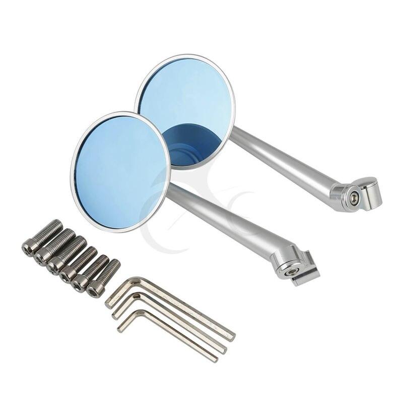 Espejos retrovisores redondos universales de plata de 10mm y 8mm para bicicletas eléctricas de crucero Roadster
