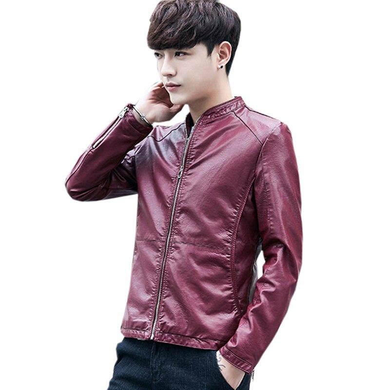 Nuevas chaquetas de piel sintética para hombre, piel sintética de alta calidad, Negro, Rojo, primavera Otoño, piel de ante para hombre, chaqueta y abrigos ajustados FP1592