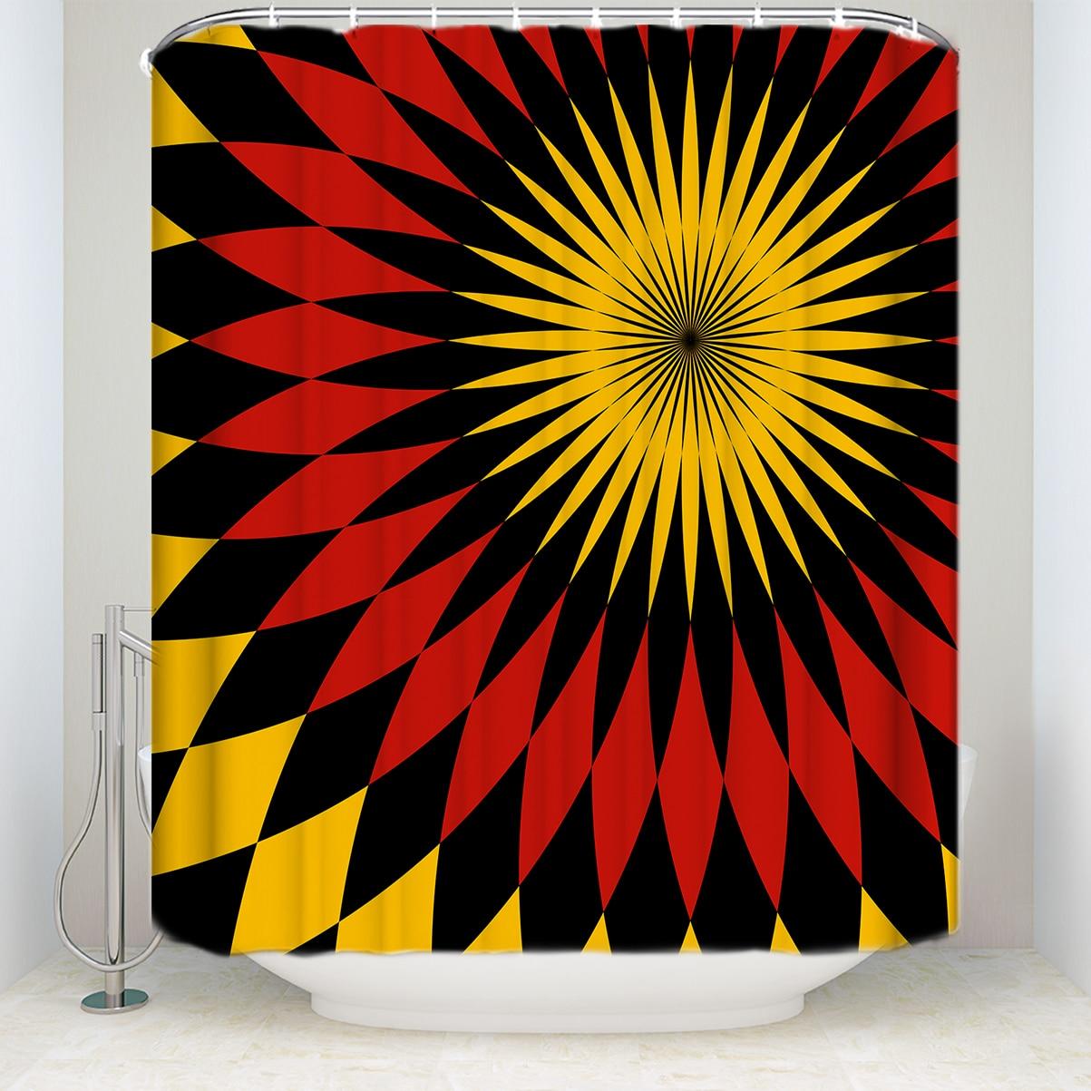 ¡Novedad! Cortina de ducha con diseño étnico resistente al agua, cortinas de baño Rojas, negras y amarillas de tela de poliéster para decoración del hogar
