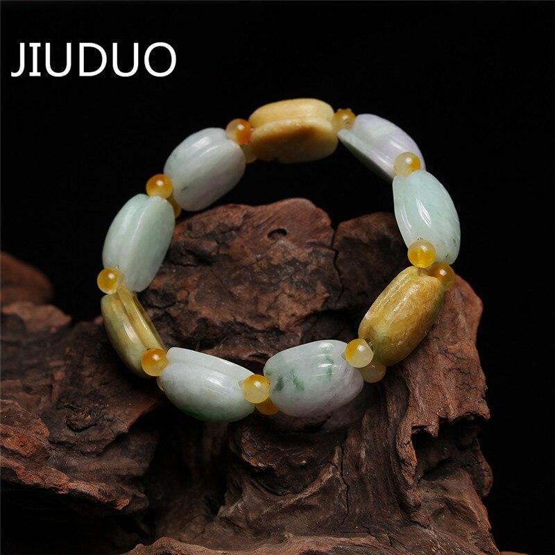 JIUDUO, envío gratis, jade natural A cargo, jadeíta, pulsera de jade, Ock, pulsera trenzada, colgantes, hombres y mujeres en Myanmar, artículo Ty