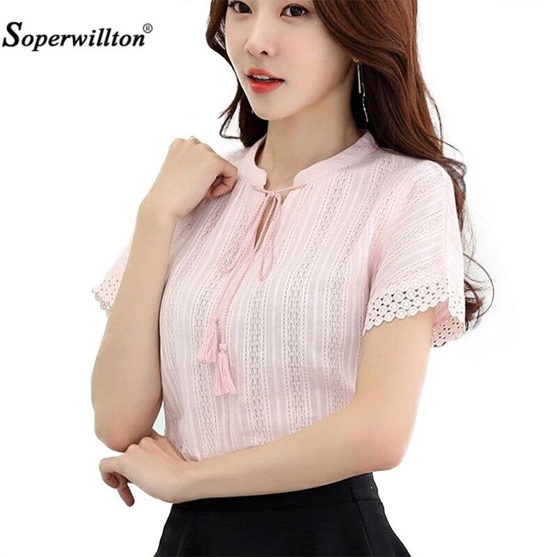 New Women's Blouse shirts Pink White Short Sleeve Women Shirt 100% Cotton Blusas Feminina Summer Causal Blouse Shirt Female Tops