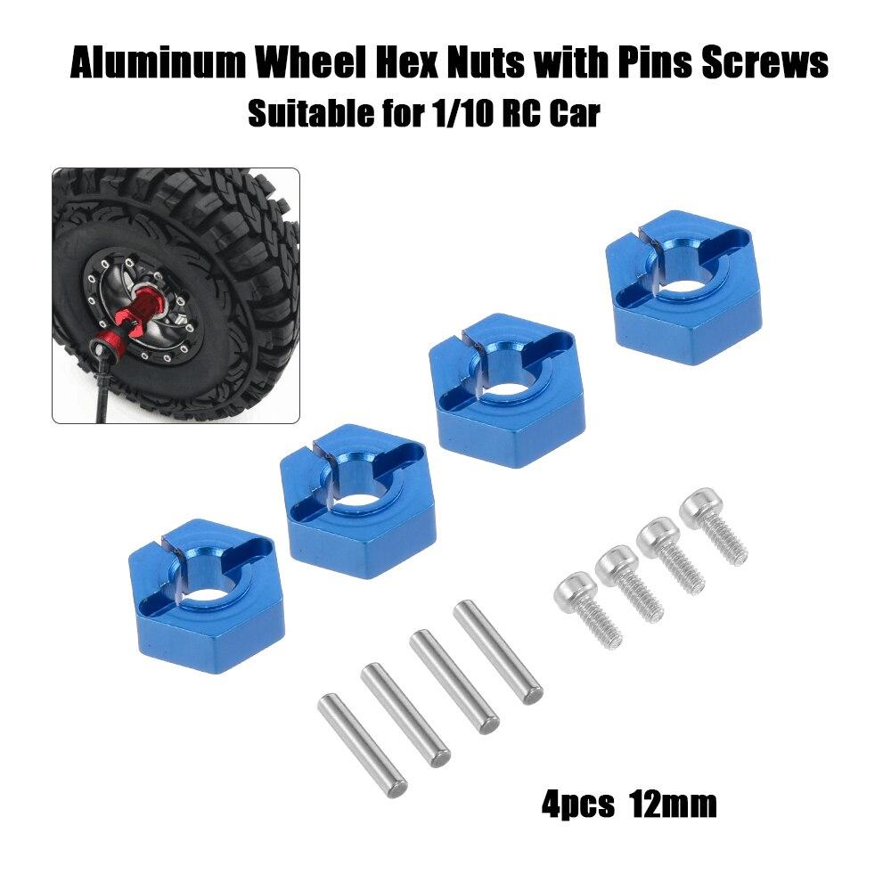 4 pçs 12mm roda de metal encanta porcas com parafusos de pinos para 1/10 rock crawler traxxas tamiya lrp hsp redcat wltoy rc peças de carro