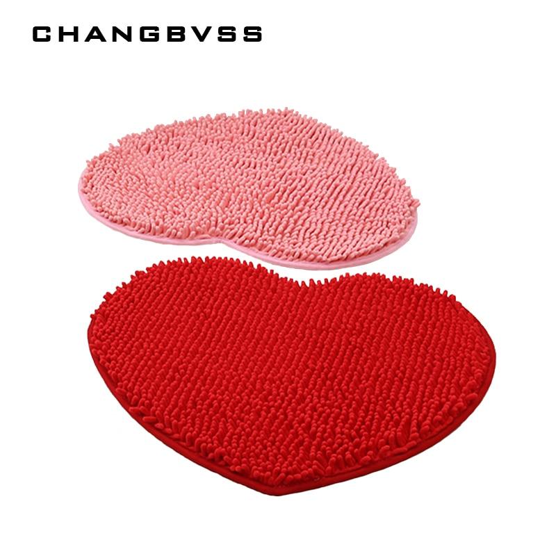 1 pièces décor à la maison moelleux 48*58cm amour coeur forme anti-dérapant tapis de bain salle de bain tapis ensemble 7 couleurs tapis de douche toilette salle de bain tapis