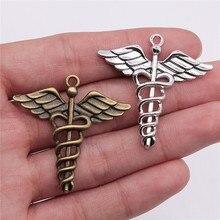 WYSIWYG 4 pièces 40x40mm pendentif caducée symbole médical caducée breloque médicale Antique couleur argent caducée symbole médical breloque