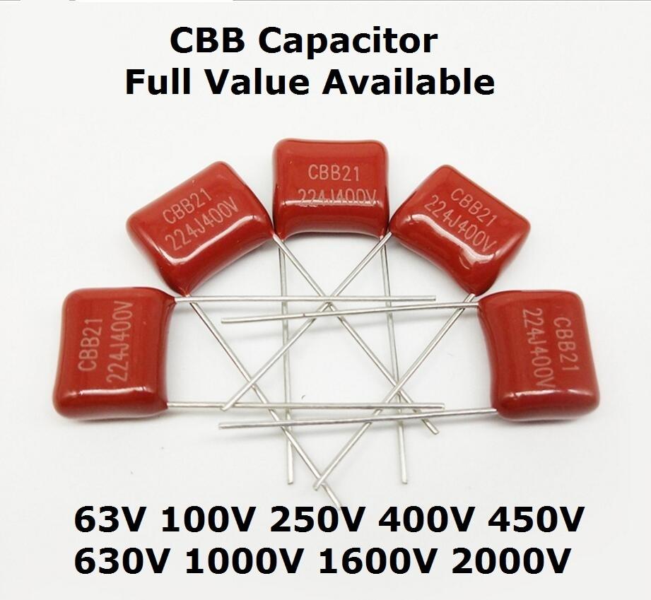 10pcs Metallized Polypropylene Film Capacitor 63V 104 105 684 474 5MM 1UF 0.68UF 0.47UF 0.1UF CBB 105J 684J 474J 104J Capacitors