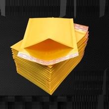 Enveloppe postale en papier Kraft jaune or   110x130mm, 100 pièces, sac de courrier à bulles rembourré, en papier Kraft, résistant aux chocs, pièces