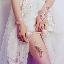 Temporary golden tattoo stickers jewelry bracelet tattoos butterfly elephant peacock flash tattoo paste makeup waterproof tattoo