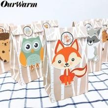 OurWarm-décorations de fête danniversaire   Sacs cadeaux en papier pour Safari pour enfants, boîte de sacs à bonbons, sac demballage pour réception-cadeaux pour bébé, fête à thème de Jungle, 12 pièces