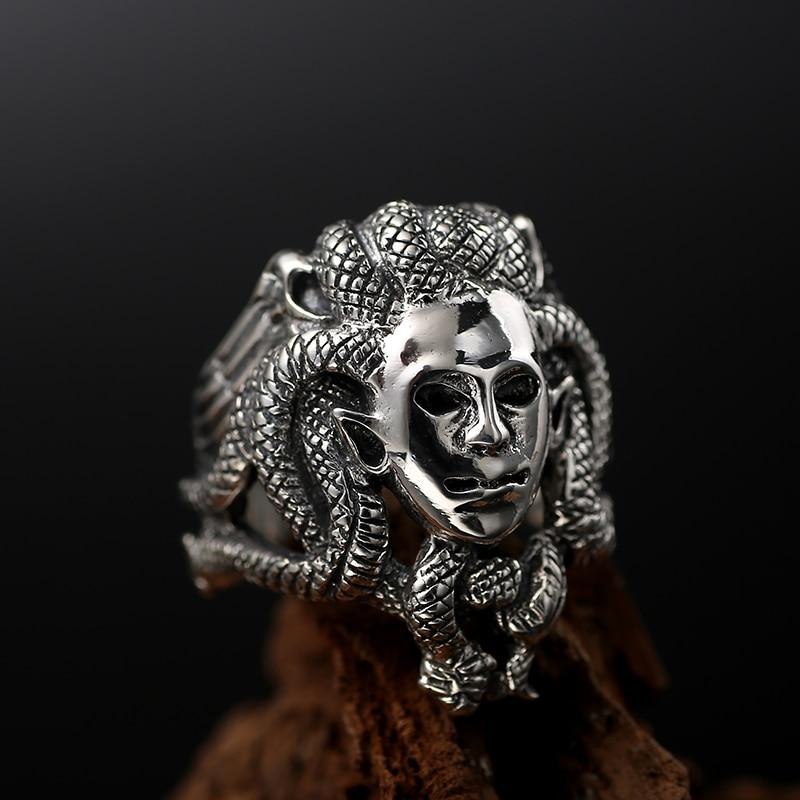 Zabra luxo sólido 925 prata esterlina homem anel budda deus cabeça do vintage cor preta punk masculino anéis dominando jóias góticas