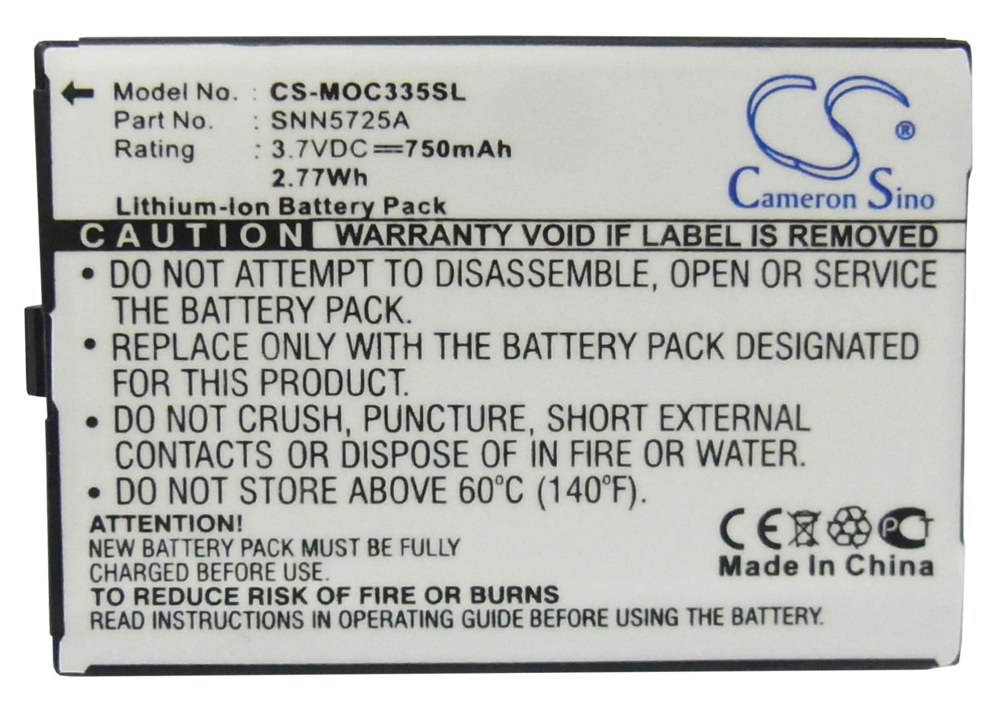 Batería de 750mAh para Motorola C300, C335