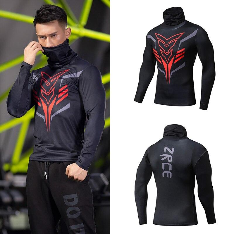 Cuello alto 2018 nuevo Otoño Invierno Fitness hombre cuello alto ropa de calle para correr impresión 3D jerseys camisetas de compresión hombres Tops