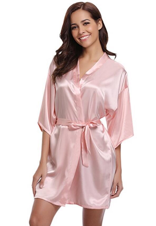 RB032 2018 New Silk Kimono Robe Bathrobe Women Silk Bridesmaid Robes  Navy Blue Robes Satin Robe Ladies Dressing Gowns