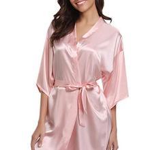 RB032 2018 New Silk Kimono Robe Bathrobe Women Silk Bridesmaid Robes Sexy Navy Blue Robes Satin Robe