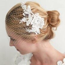 YNQNFS V20 images réelles cheveux décoration une couche dentelle perles voile Facial voile de mariage court cage à oiseaux Blusher voile voile de mariée