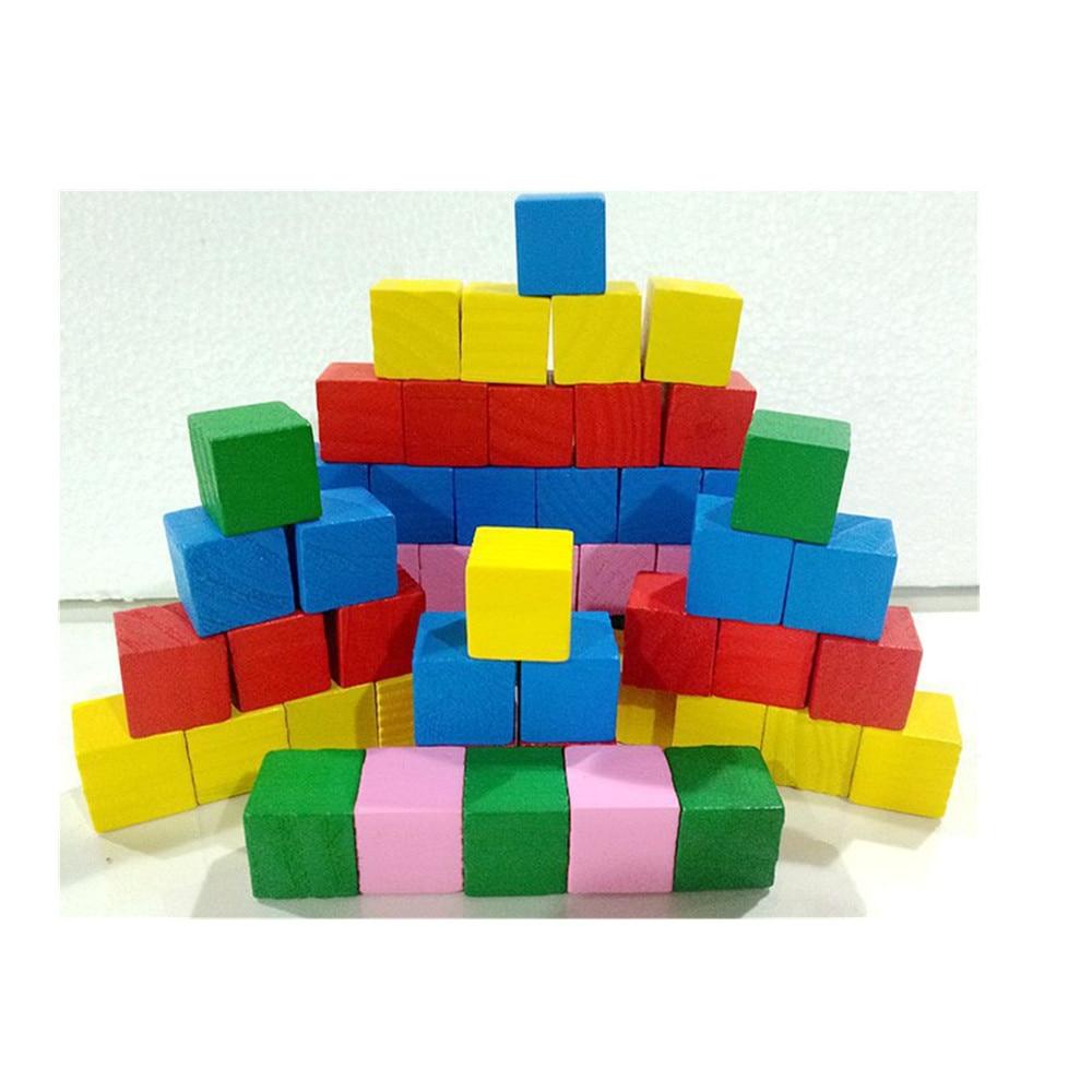 20 unids/set colorido de madera edificio bloques cuadrados cubos de bebé niños de Stack de Educación de aprendizaje Juguetes