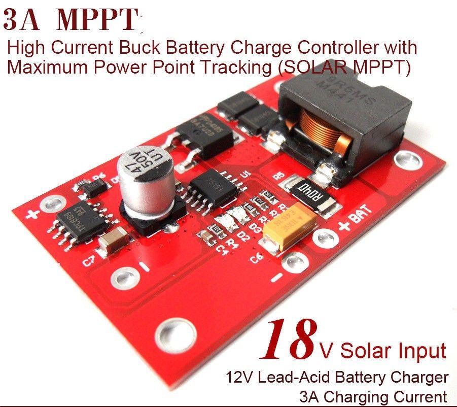 MPPT Солнечное зарядное устройство DC 12V 3A литиевый свинцово-кислотный аккумулятор, плата для зарядки, контроллер W, максимальная мощность, отслеживание точки, 18v вход