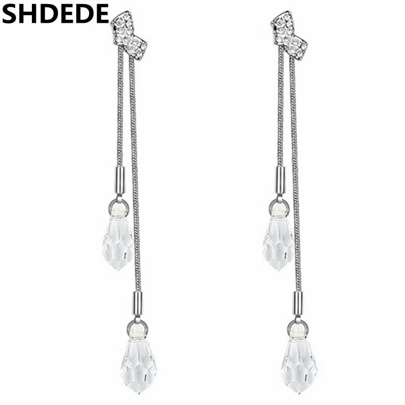 SHDEDE pendiente de gota para mujeres Cristal de Swarovski colgantes largos pendientes de la joyería exagerada fiesta de moda colgantes-3057
