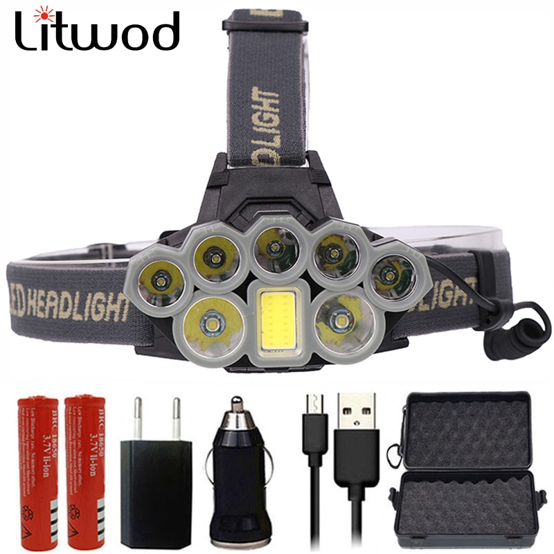 Z20 Litwod 4108 Faróis Led Micro USB Charger Farol 2 * T6 + 5 * XPE + COB Portátil Tocha luz Head Lamp Lanterna para camping