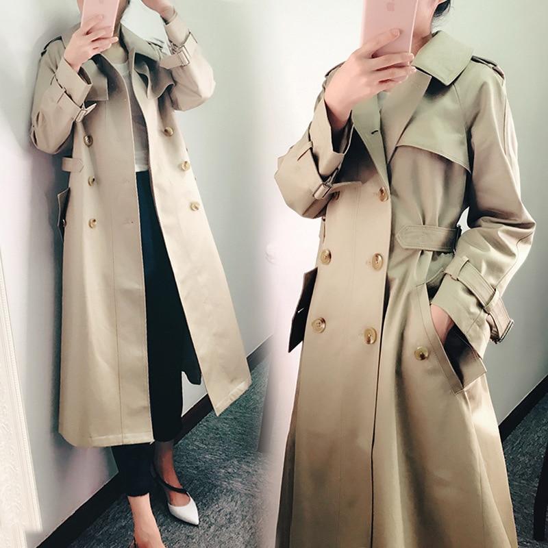 Mujer Windbreaker wide-waisted primavera otoño mujer Oficina clásica señora Coat sólido doble Breasted manga larga chaqueta delgada DY8