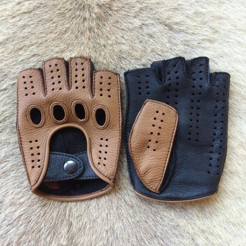 High Quality 2020 New Half Finger Men Genuine Leather Gloves Goatskin Gloves Fashion Men Breathable Driving Gloves Male Mittens